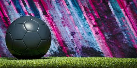 Photo pour Panorama banner of a soccer ball or football on a sports field against a backdrop of colourful pink and blue stripes with copy space and vignette - image libre de droit