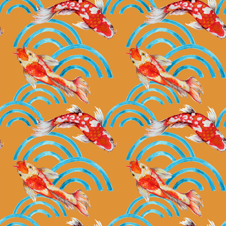 Foto de Hand drawn seamless background pattern inspired by chinese Korean and Japan kimono yukata background backdrop watercolor gouache - Imagen libre de derechos