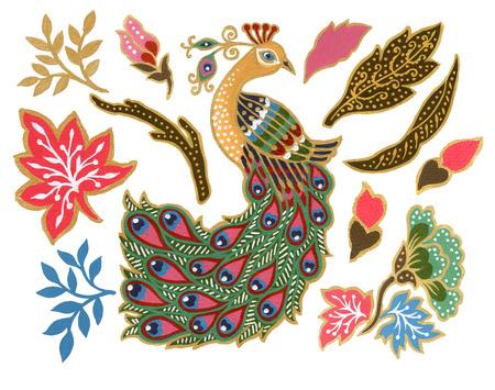 Photo pour The beautiful of flower peacock bird art Malaysian and Indonesian Batik Sarong elements watercolor Gouache Hand Painted - image libre de droit