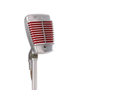 Foto de Vintage microphone on white background - Imagen libre de derechos
