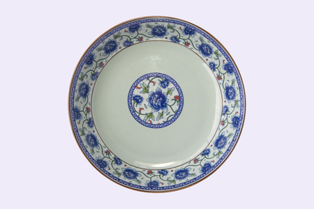 Photo for blue and white porcelain plate in white background - Royalty Free Image