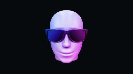 3D rendering robot face, artificial intelligence circuit network digital technology.