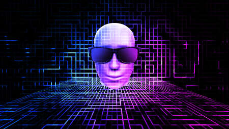 3D rendering AI human face on the circuit board space, artificial intelligence concept.