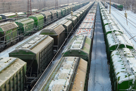 Logistics. Freight transportation. Railroad. Cars with freight.