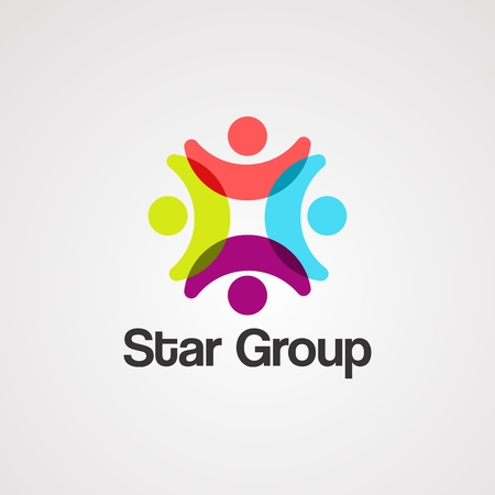 Illustration for star group logo vector, icon,element, and template for company - Royalty Free Image