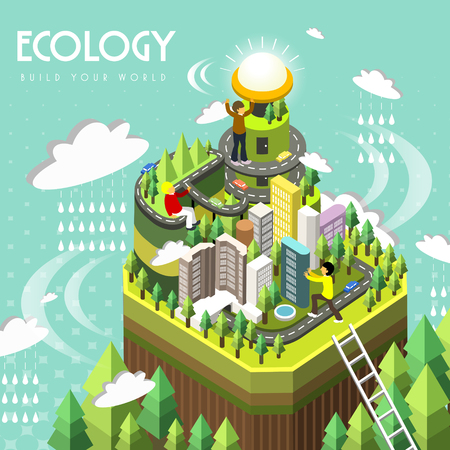 ecology concept in 3d isometric flat design