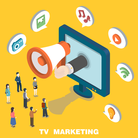 TV marketing concept in 3d isometric flat design
