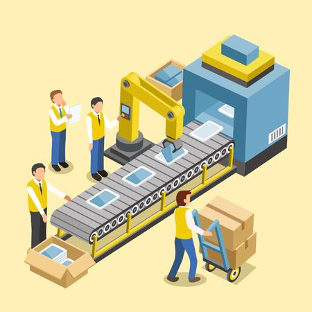 Illustration pour robotic production line concept in 3d isometric flat design - image libre de droit
