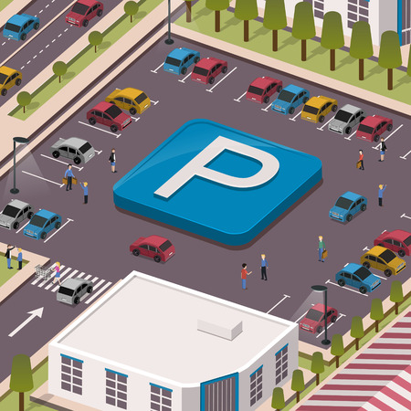parking lot concept in 3d isometric flat design