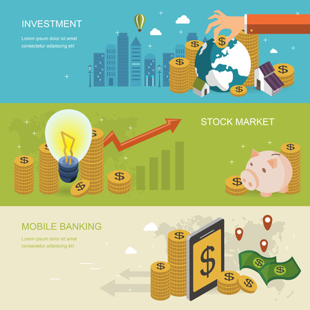 financial concept banner in 3d isometric flat design