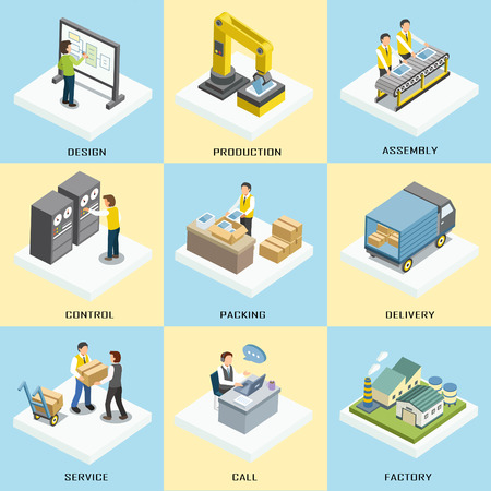 logistics working process in 3d isometric flat design