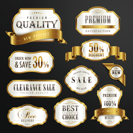 Illustration for collection of premium quality golden labels design set - Royalty Free Image