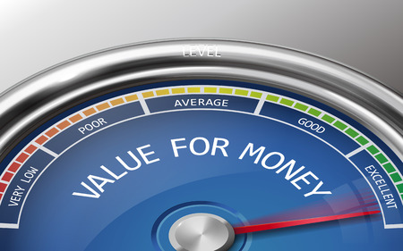 value for money conceptual 3d illustration meter indicator isolated on grey background