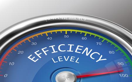 Ilustración de efficiency level conceptual 3d illustration meter indicate hundred percent isolated on grey background - Imagen libre de derechos