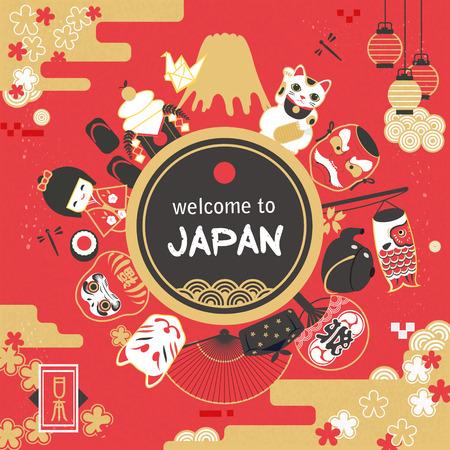 Illustration pour Japan tourism poster design - festival words on the fan / Japan country name on the lower left - image libre de droit
