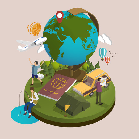 3d isometric flat design - outdoor activity and travel concept