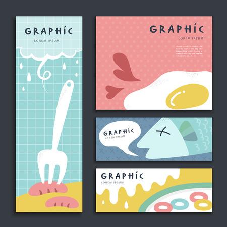Illustration pour lovely banner template design set with breakfast elements - image libre de droit
