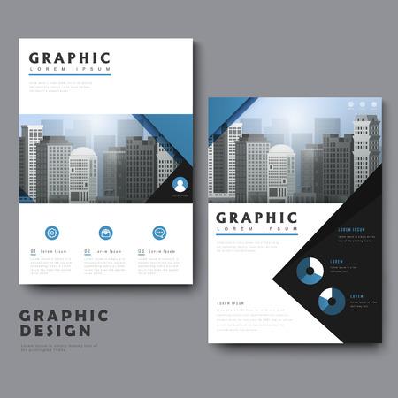 Illustration pour Simplicity template design with urban landscape and geometric elements - image libre de droit