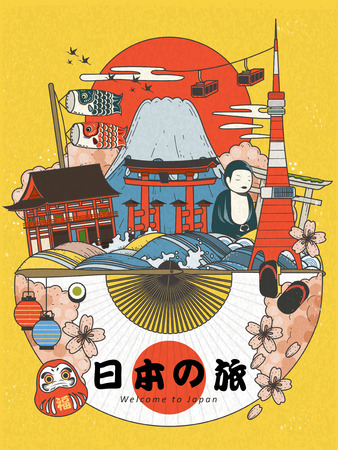 Illustration pour Lovely Japan travel poster, famous attractions with traditional elements, Japan travel in Japanese on the fan, lucky words in Japanese on the daruma - image libre de droit
