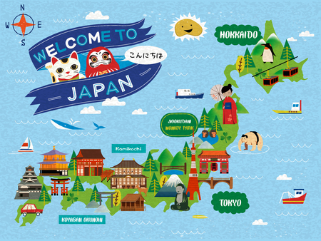 Attractive Japan travel map, lovely attractions and traditional symbols, Hello words in Japanese on the upper left