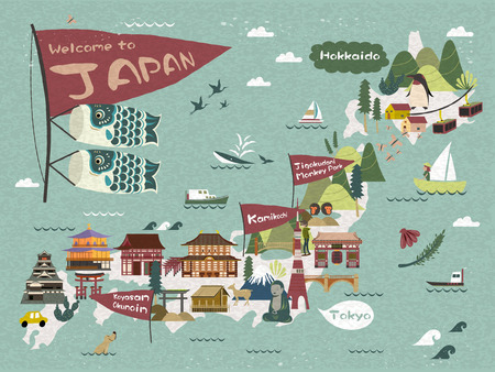 Japan travel map, famous attractions on the island with lovely carp streamer