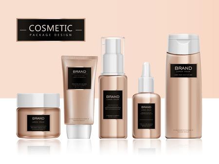 Illustration pour Cosmetic package template design, elegant packaging set with labels. 3D illustration. - image libre de droit
