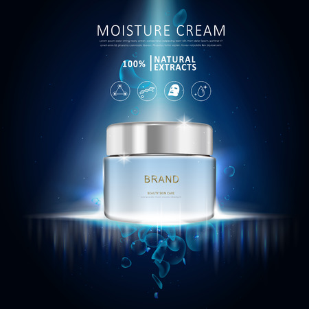 Illustration pour Moisture cream ad template, blank blue cream bottle design isolated on dark blue background - image libre de droit