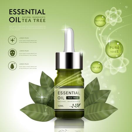 Illustration pour Essential oil ad template, tea tree oil dropper bottle design with leaves elements, 3D illustration - image libre de droit