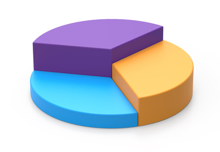 Photo for 3d rendering colorful pie chart model, isolated white background - Royalty Free Image