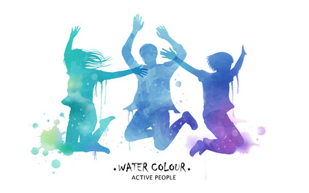 Ilustración de Watercolor jumping silhouette, young people jumping high in watercolor style. Blue and purple tone. - Imagen libre de derechos