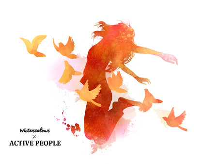 Illustration for Watercolor jumping silhouette, young girl jumping with pigeons around her in watercolor style. - Royalty Free Image