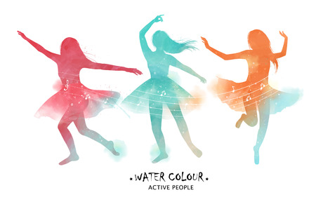 Ilustración de Watercolor ballet dancer silhouette, graceful ballet dancer motions in colorful tone. - Imagen libre de derechos
