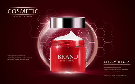 Illustration pour Cosmetic ads template, cream container mockup isolated on scarlet background. 3D illustration. bubble and hexagon elements. - image libre de droit
