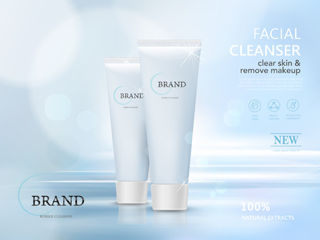 Illustration pour facial cleaner blank package model, 3d illustration for ads or magazine - image libre de droit
