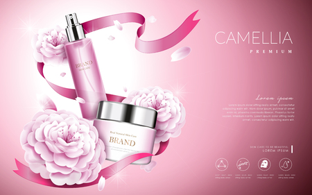 Illustration for Camellia cosmetic ads, elegant pink camellia with cream bottle and ribbons, 3d illustration - Royalty Free Image