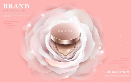 Illustration pour Graceful powder cushion ads, 3d illustration foundation product in the central of a romantic white flower - image libre de droit