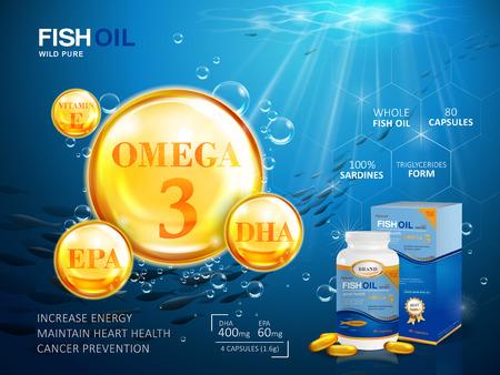 Vektor für Fish oil ads template, omega-3 softgel with its package. Deep sea background. 3D illustration. - Lizenzfreies Bild