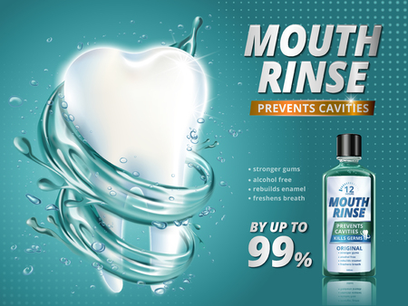 Illustration pour Mouth rinse ads, refreshing mouthwash product with giant healthy tooth model surrounded by clean liquid in 3d illustration, turquoise background - image libre de droit