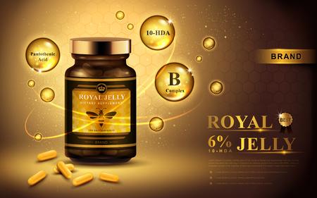 Illustration pour royal jelly ad with capsules and shining bubbles, golden background 3d illustration - image libre de droit