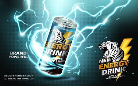 Vektor für Energy drink contained in metal can with electricity current element, teal background 3d illustration - Lizenzfreies Bild
