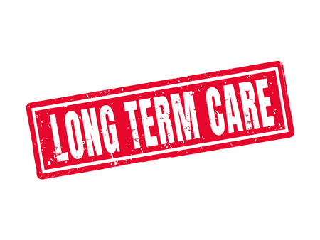 Long term care in red stamp style, white background