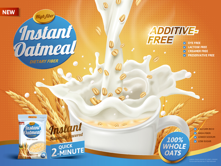 Vektor für oatmeal ad, with milk pouring into a cup and oat elements, 3d illustration - Lizenzfreies Bild