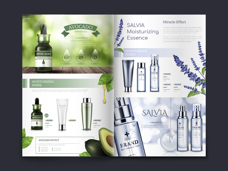 Ilustración de avocado and salvia themed cosmetic brochure design, can also be used on catalogs or magazines, 3d illustration - Imagen libre de derechos