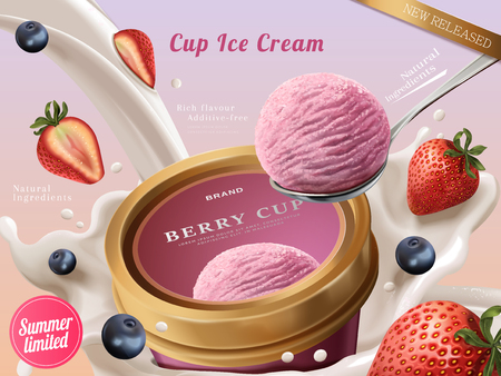 Ilustración de Berry ice cream cup ads, a scoop of premium strawberry ice cream with flowing milk and fruits in 3d illustration - Imagen libre de derechos
