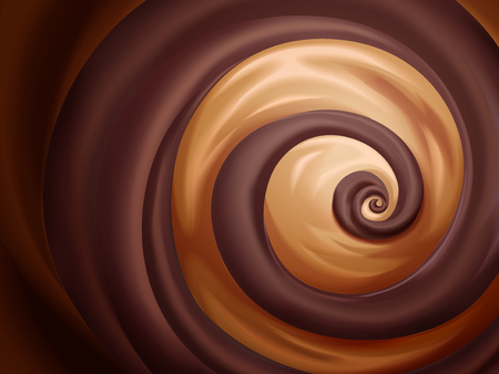 Illustration for Chocolate and caramel sauce background for design uses - Royalty Free Image