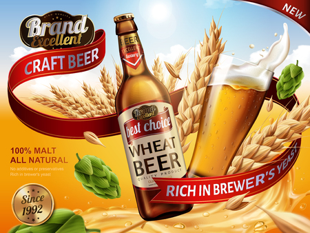 Illustration pour Wheat beer ads, beer bottle and glass with splashing beer and ingredients in the air, 3d illustration - image libre de droit