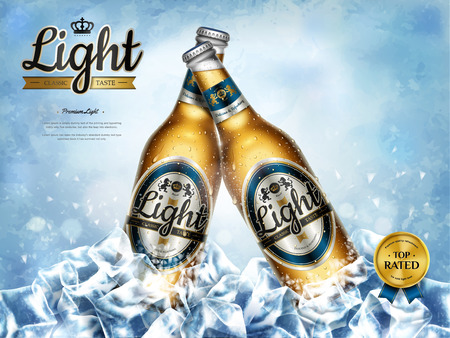 Illustration pour Chilling light beer ads, premium beer in glass bottles in bunch ice cubes in 3d illustration - image libre de droit
