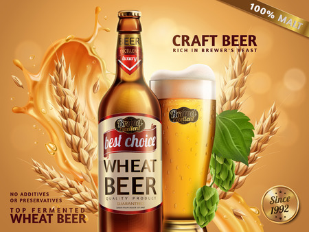 Illustration pour Wheat beer ads, beer bottle and glass with attractive beer and ingredients behind them, 3d illustration on glitter bokeh background - image libre de droit