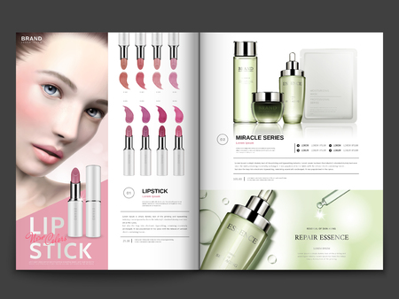 Illustration pour Cosmetic magazine template, lipstick and skin care products with model portrait in 3d illustration, magazine or catalog brochure for design uses - image libre de droit