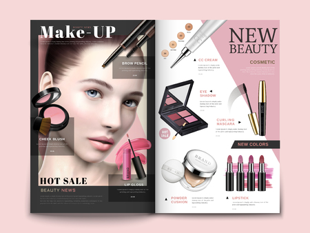 Illustration pour Cosmetic magazine template, trendy cosmetic products with model portrait in 3d illustration, magazine or catalog brochure for design uses - image libre de droit
